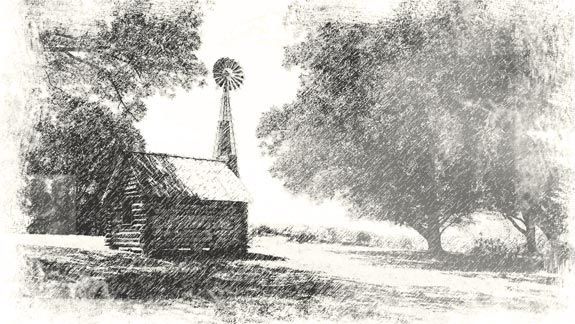 small cabin with windmill in black and white